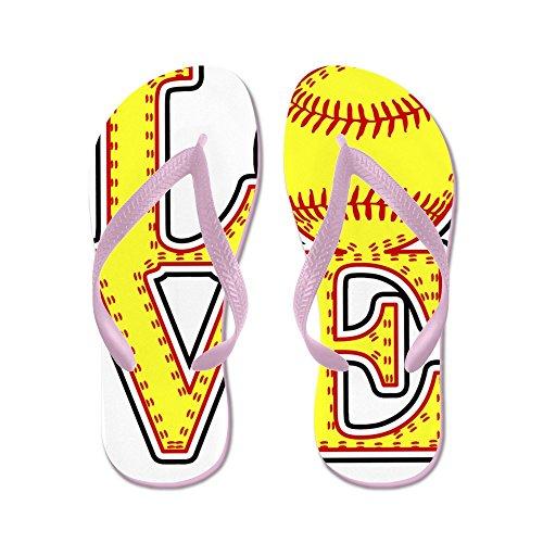 CafePress Love Softball Stitch Print - Flip Flops, Funny Thong Sandals, Beach Sandals Pink