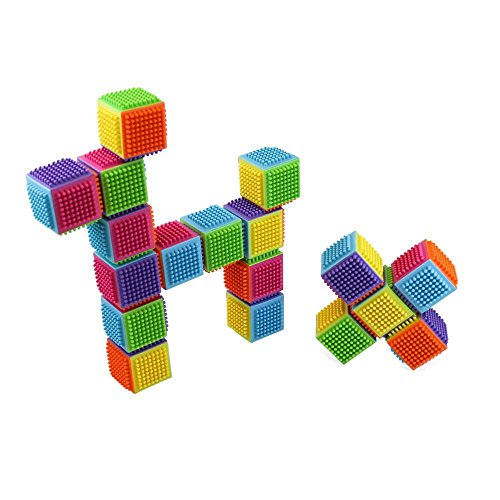 24 Piece Stacking Bristle Blocks and Interconnecting Building Set For Boys & Girls, Educational Fun, Great for Toddlers and Children by Dimple