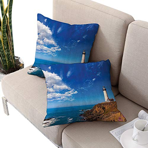 - Lighthouse Decor Collection Square kids pillowcase ,California Pigeon Point Lighthouse in Cabrillo Coastal Highway State Route Image Print Blue White Cushion Cases Pillowcases for Sofa Bedroom Car