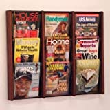 Wooden Mallet AC26-9 Nine Pocket Wall Mounted Magazine Rack in Dark Red Mahogany
