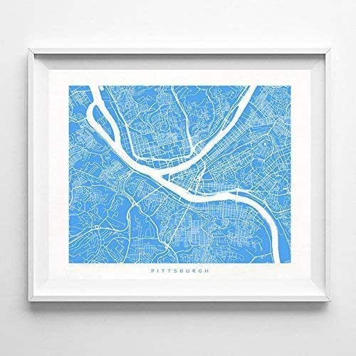 Amazon.com: Pittsburgh Pennsylvania Street Road Map Poster