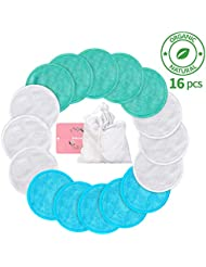 Makeup Remover Pads Reusable 16 Packs, Toner Pads, Facial Soft Cleansing Wipes, Washable Organic Bamboo Cotton Rounds with Laundry Bag (3 Colors)