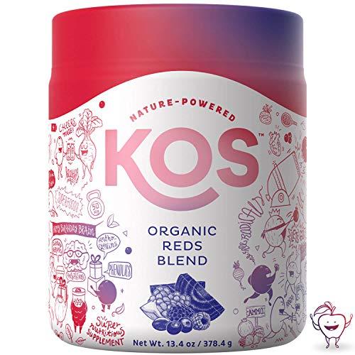 KOS Organic Reds Blend - Resveratrol, Antioxidant Rich Superfood Red Juice Powder Blend USDA Vegan Plant Based Ingredient, 378.4g (13.4oz), 44 Servings (Triple Berry)