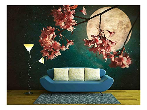 wall26 - Antique and Vintage Style Photo - Beautiful Pink Cherry Blossom - Removable Wall Mural | Self-Adhesive Large Wallpaper - 100x144 inches