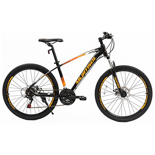 - Murtisol Aluminum Mountain Bike 26'' Hybrid Bicycle with Dual Disc Brake, 21 Speeds Derailleur, Light Weight Frame, Suspension Fork, Adjustable Seat in 3 Colors (Orange)