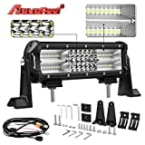 LED Light Bar, Autofeel 9 inch 180W Quad Row LED Work Light Spot Flood Combo Beam Light Bar Off Road Lights Driving Lights with Mounting Brackets and Wiring Harness for Truck Jeep ATV UTV Wrangler SUV