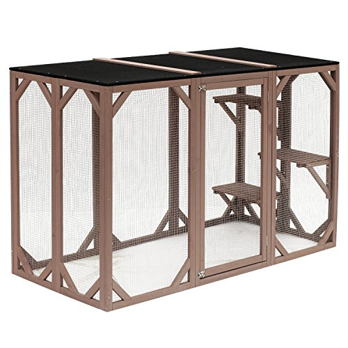 Large Enclosure (Pawhut Large Wooden Outdoor Cat Enclosure Cage with 3 Platforms)