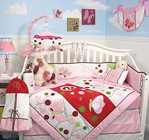 SOHO Butterflies Red Meadows Nursery Bedding Complete Set - Soho Fitted Sheet