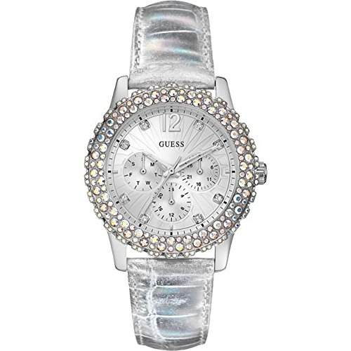 GUESS W0336L1 Women's Silver Leather Strap Swarovski Crystal Watch