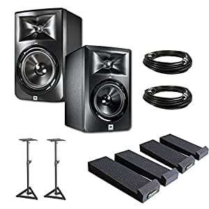 JBL LSR305 5-inch Two-Way Powered Studio Monitors (PAIR) w/ Auralex MoPads + (2) XLR Cables + Monitor Stands