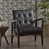Conrad Mid Century Modern Arm Chair in Black Faux Leather For Sale