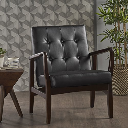 Conrad Mid Century Modern Arm Chair in Black Faux Leather