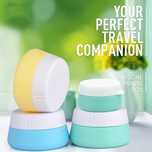 Soft Silicone Cosmetic Containers Cream Jar with Sealed Lid, 3 Pieces(20ml)+1 Pieces(10ml) - Food Grade Silicone - BPA Free - Great for Travel, Home and Outdoor (Blue & Yellow & Green & Green)