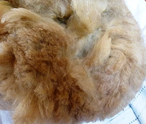 - Light Tan Brown huacaya Cria Baby Alpaca spinning felting crafting Fiber Fleece