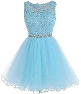 TOPJIN Short Tulle Cocktail Evening Prom Party Dress Ball Gowns for Teen Girls