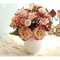 Sisthirth Rose con Crisantemo Artificial Bouquet di 8 teste di fiori, decoro vintage di fiori finti di seta per matrimonio, casa, festa