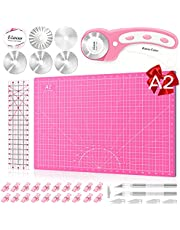 A2 Rotary Cutter Set, Ulif 45mm Fabric Cutter, 5 Replacement Blades, A2 Cutting Mat, Acrylic Ruler, 20 Craft Clips and 2 Craft Knife - Ideal for Crafting, Sewing, Patchworking, Crochet & Knitting