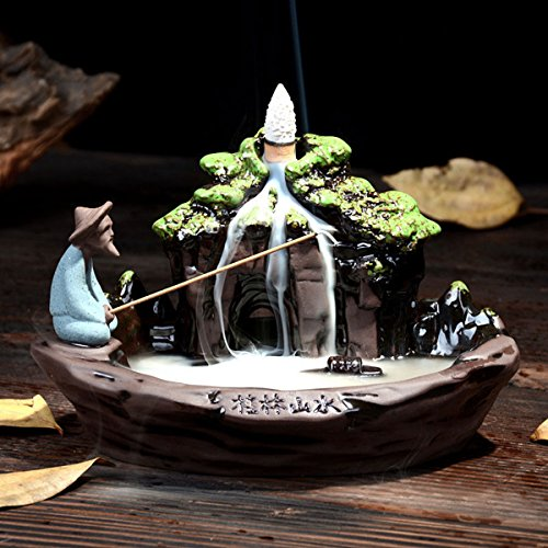 Jeteven Big Ceramic Incense Burner Backflow Incense Burner Holder + 10pcs Incense Cones Incense Stick Holder for Home Office Decor 7.48''X4.53''X4.72''