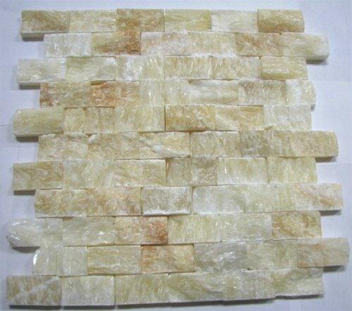 Honey Onyx Split Face 1x2 Mosaic Tile for Kitchen Backsplash, Wall tile - smallkitchenideas.us