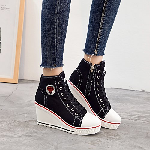 Padgene Damen Sneaker hochhackige Fashion Canvas Schuhe High Pump Lace UP Wedges Seitlicher Reißverschluss Schuhe Schwarz 3