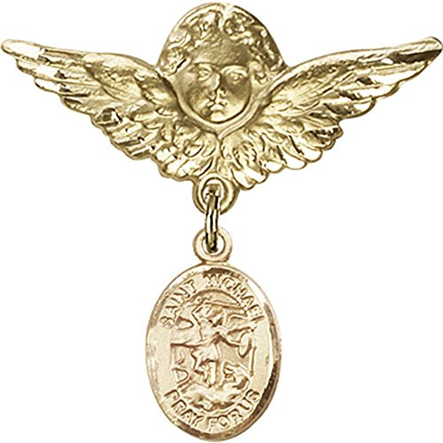 Gold Filled Baby Badge with St. Michael the Archangel Charm and Angel w/Wings Badge Pin 1 1/8 X 1 1/8 inches by Unknown