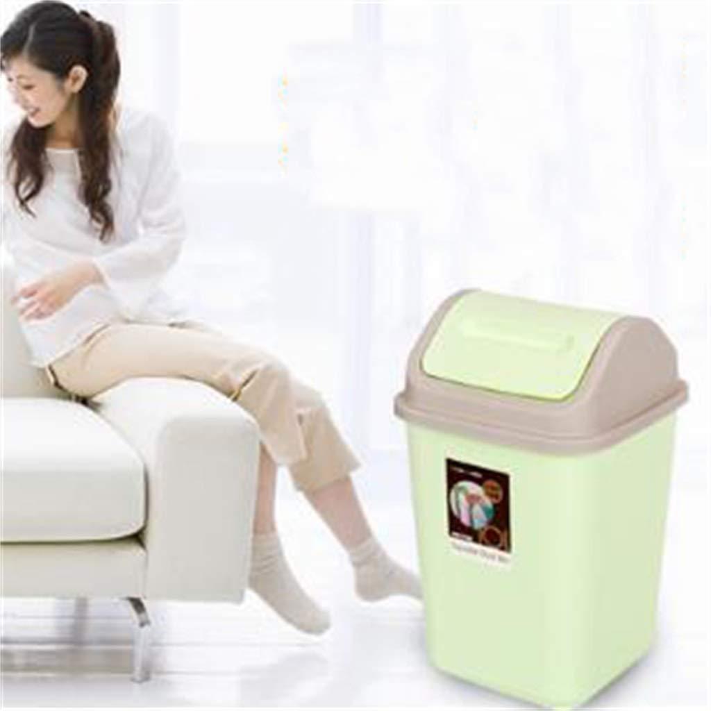 Cubo de basura de la papelera de de la basura de papelera la basura de la tapa del tirón superior plástico del grado de LJMEI (pequeño - 10 litros) 956bde