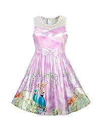 Sunny Fashion Girls Dress Elsa Anna Cartoon Lace Birthday Party Princess