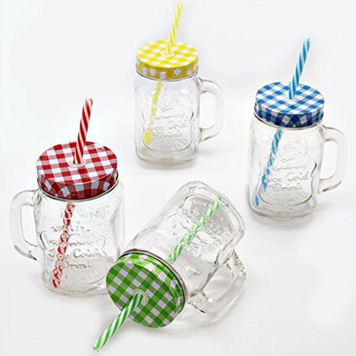 4er Set Vintage Trinkglas mit Karo Deckel und Strohhalm + Trennkost TT