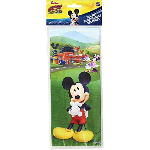 Wilton 1912-7108 16 Count Mickey and The Roadster Racers Treat Bags, - Clubhouse Bags Treat Mickeys