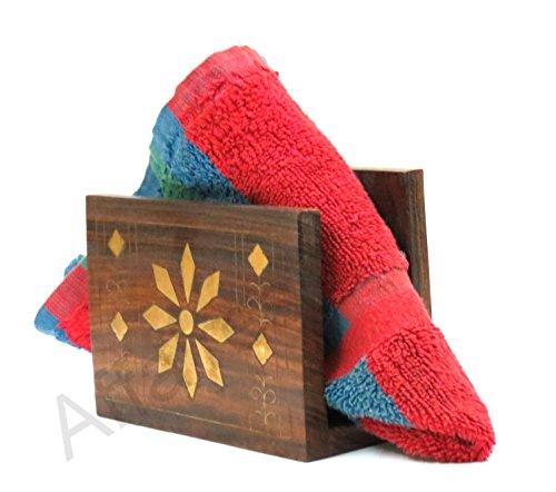 Wooden Inlay Work - Affaires Wooden Napkin Holder / Tissue Paper with Brass Inlay Work - Wooden Kleenex Tissue Holder - Kitchen Dining Table Accessories Christmas Gift/ Birthday W-40199