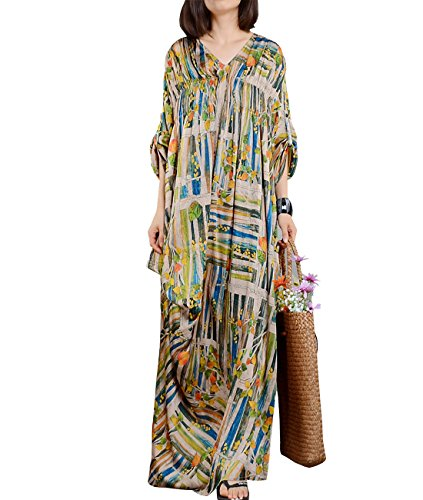 Silk Floral Dress Maxi (YESNO JN6 Women Long Maxi Colorful Floral Baggy Dress 100% Silk Gathered Bust Roll-up Sleeve Bohemia Sexy Summer Beach)