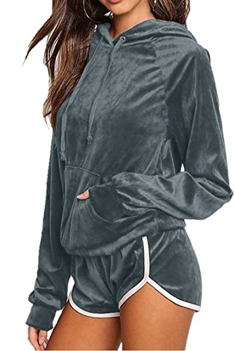 - Women Casual Velvet Long Sleeve Hoddies Shorts Ourdoor Sport Tracksuits Set for Juniors Gray X Large