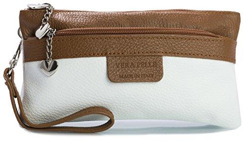 Big Handbag Shop - Cartera de mano con asa de cuero para mujer One Blanco - Detalle Marrón