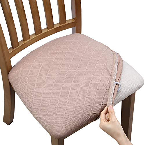 Fuloon Stretch Jacquard Chair Seat Covers,Removable Washable Anti-Dust Dinning Room Chair Seat Cushion Slipcovers (4, Light Brown)