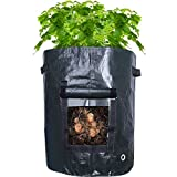 Hestya 2 Pack 10 Gallon Garden Potato Grow Bags Growing Plant Pots Handles Aeration Vegetable Plant Gardening, Dark Green