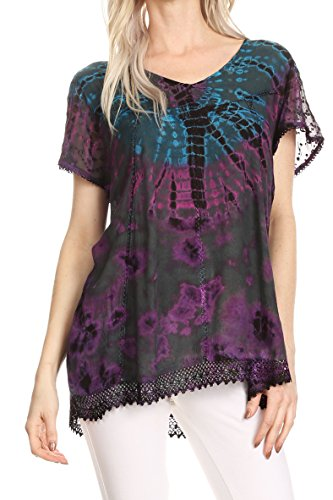 Cotton Embroidered Jeans (Sakkas 17787 - Josea Relaxed Fit Tie Dye Embroidered Crepe Cap Sleeve Blouse | Cover up - Teal - OSP)