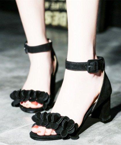 Sandals Flower Suede Comfy Black Faux Buckle Women's Aisun qfOYwBxF6