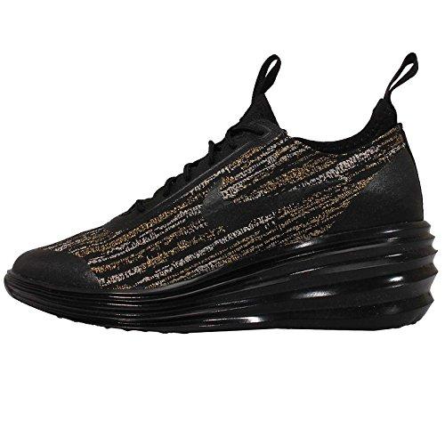 Nike Women's LunarElite Sky High Jacquard - Black / Metallic Gold, 8.5 B US