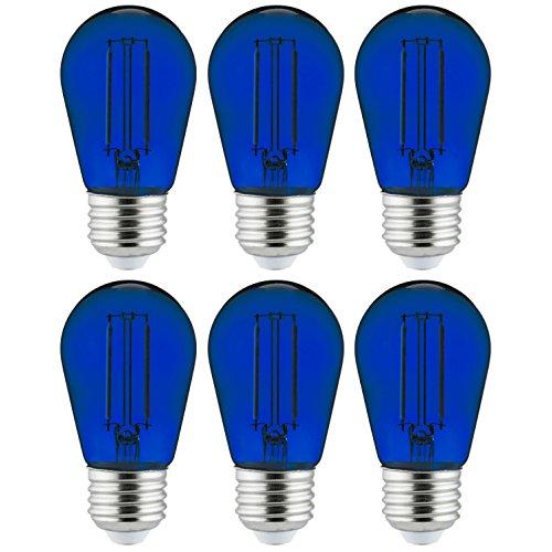Sunlite 40972 LED Filament S14 Sign And String Light Bulb 2-Watt Transparent Dimmable LightBulb, 6 Pack, Blue