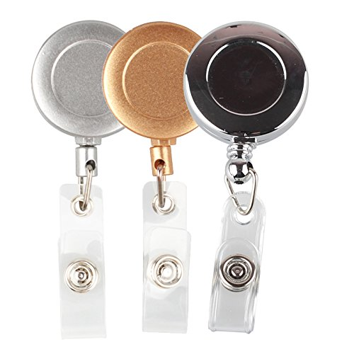 3 Pieces Retractable Reel ID Badge Key Card Name Tag Holders with Belt Clip for Keys-ids-badges (Three - Acrylic Badge