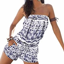 Summer Women Fashion Printed Strapless Jumpsuits Beach Boho One-Pieces S-Xl