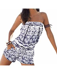 WINSON Summer Women Fashion Printed Strapless Jumpsuits Beach Boho One-Pieces S-Xl