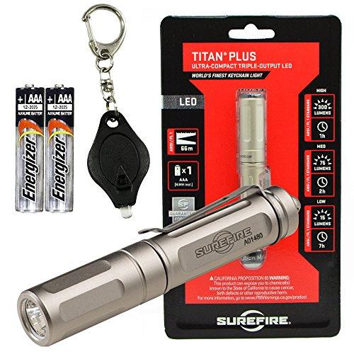 (SureFire Titan-B Plus 300 Lumen LED Keychain Flashlight Bundle with 2 Extra Energizer AAA Batteries and Lumintrail Keychain Light)