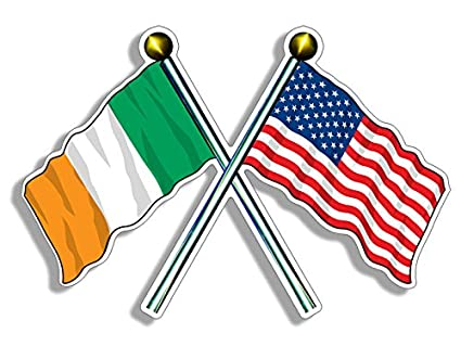 79673fb895a97 Amazon.com  USA and Ireland Waving Flags on Poles Sticker (American ...