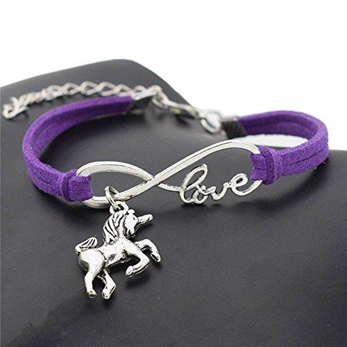 Nongkhai shop Fashion Women Lucky Unicorn Horse Infinity Love Leather Bracelet Bangle Jewelry Color purple
