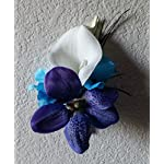 Purple-Blue-Turquoise-Orchid-Calla-Lily-Cascading-Bridal-Wedding-Bouquet-Boutonniere