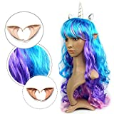 Elf Ears and Colored Curly Hair Set Curly Wig with Silver Horn and Elven Ear Halloween Set Cosplay Party Favor