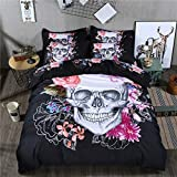 Skull Duvet Cover Queen 3D Print Floral and Skull Bedding Set with 2 Pillowcases Microfiber Bedding Comforter Covers with Zipper Queen Size