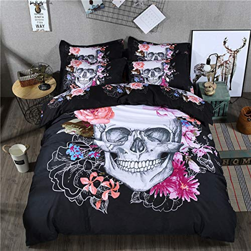 Skull Duvet Cover Set Queen 3D Printed Floral and Skull Bedding Set with 2 Pillowcases Microfiber Duvet Covers with Zipper Closure and Corner Ties (Skull,3 Pcs) No Comforter