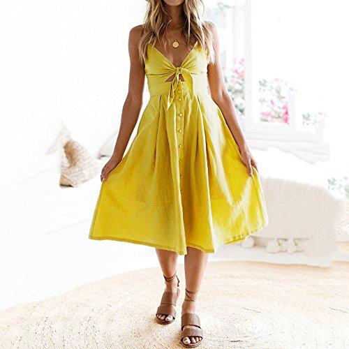 76bfa115d698fb ... Party Urlaub Sommer Strand Kleid Damen Schnürschuhe Bowknot Burfly Frauen  Kleid Buttons Gelb